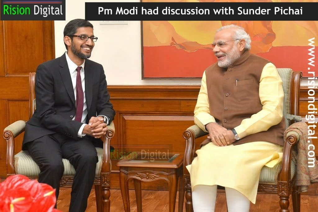 Pm Modi meets Sunder Pichai to deal with data security