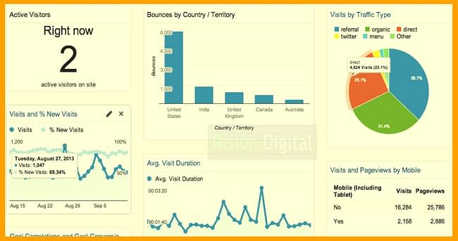 Google analytic tools, Rision Digital